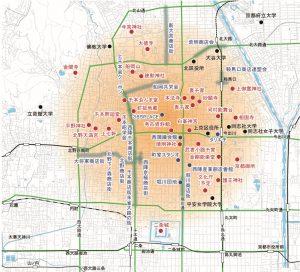 西陣を中心とした地域の範囲のイメージ